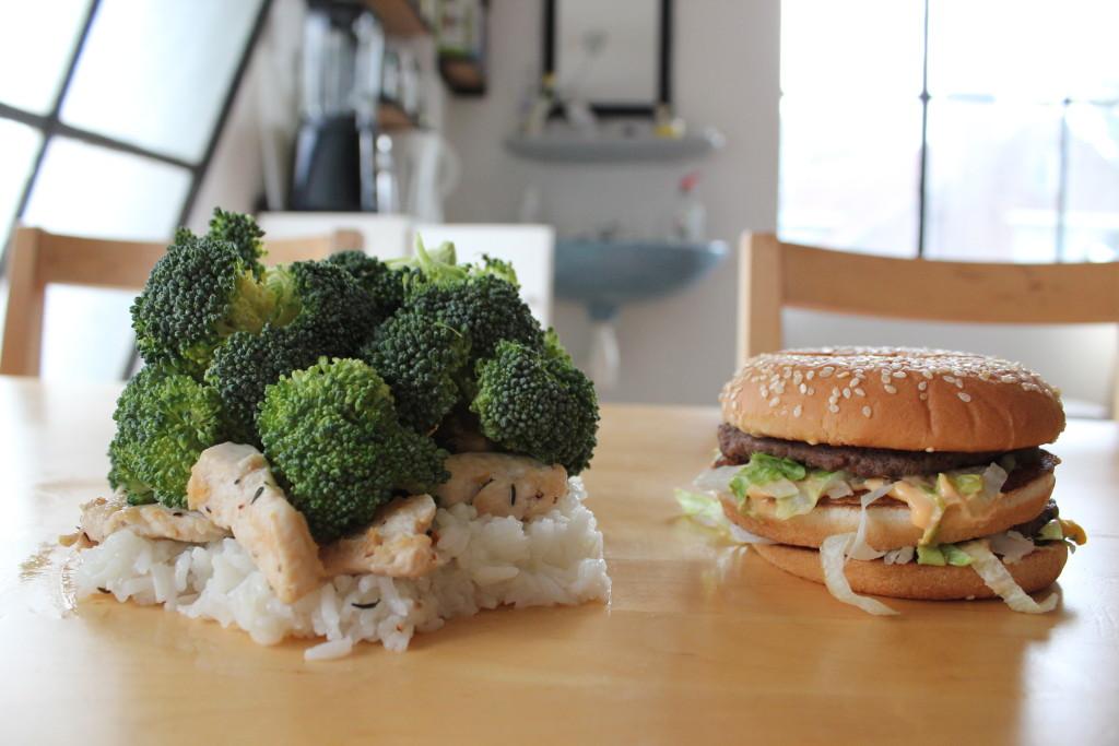 Surfoloog Big Mac VS. Gezond eten